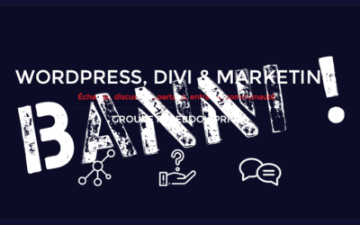 Banni du groupe WordPress, Divi & Webmarketing…