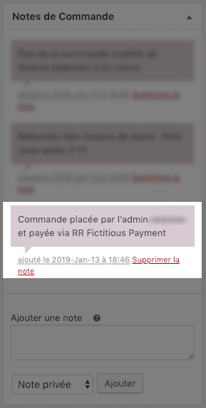 RR Fictitious Payment Order Note